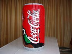 MOC: sculpture, icon, coca cola creator: t-reichling size: na very amazing creation and unique. this is replica of coca. Lego Food, Coca Cola Can, Cool Lego Creations, Stuff To Do, Cool Stuff, Lego Models, Lego House, Everything Is Awesome, Centre Pieces