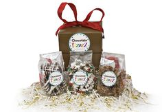 Gift Ideas from Chocolate Pizazz!  Six of our mouthwateringly marvelous swirled pretzels, 6 oh-so-good Toffee Marshmallow Bites, and a 5 oz. Celebration Popcorn in our signature medium gift box make this a perfect taste treat! A complimentary gift card is included.  (1 lb. 2 oz.)  www.chocolatepizazz.com