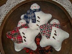 Primitive Snowmen Ornies/Bowl fillers Stars by colleenscraftshed, $8.50