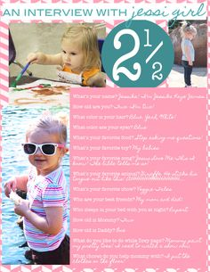A interview with a toddler - a fun way to remember what your kids said and liked at each age!