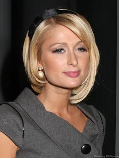 Paris Hilton's asymmetrical bob is cute here. #NewYearStyleChallenge #SquareFaceHairstyle