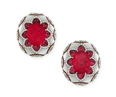 A FINE PAIR OF RUBY, MOTHER-OF-PEARL AND DIAMOND EAR CLIPS BY BOGH-ART