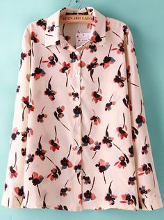 Pink Lapel Long Sleeve Floral Blouse - Sheinside.com