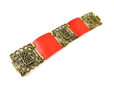 Art Deco Bracelet, Red Celluloid Bangle, Gold Filigree Enamel, Wide Cuff, 1920s Brass Art Deco Jewelry, Statement Jewelry