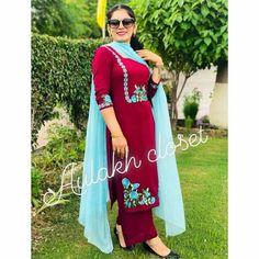 @AMAN❤ Designer Punjabi Suits Patiala, Punjabi Suits Designer Boutique, Boutique Suits, Indian Designer Suits, Pakistani Dress Design, Embroidery Suits Punjabi, Embroidery Suits Design, Embroidery Fashion, Embroidery Dress