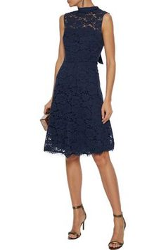 Shop on-sale Tie-neck corded lace dress. Browse other discount designer Knee Length Dress & more luxury fashion pieces at THE OUTNET Summer Mother Of The Bride Dresses, Mother Of Groom Dresses, Dresses For Sale, Dress Sale, Navy Dress, Jacket Dress, Dress Outfits, Luxury Fashion, Tie