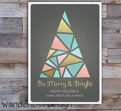 Custom Holiday Card Tree Gold Rose Glitter Merry and Bright