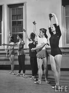 Five students of the School of the American Ballet in 1944, demonstrating the five basic ballet positions.