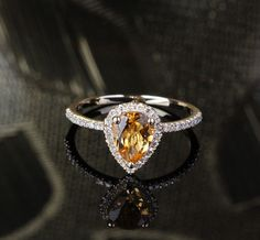 14K Yellow Gold Pave  Engagement Wedding Ring with 1.72CT Pear cut Citrine on Etsy, $425.00