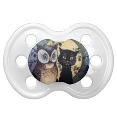 Halloween Black Cat and  Owl Pacifier
