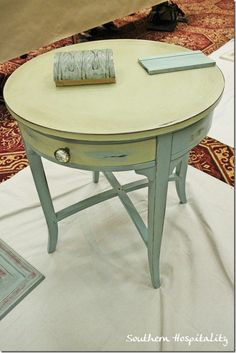 Annie Sloan Chalk Paint. It also apparently covers laminates!