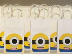 Minion treat bag, minion goody bag, minion favor bag ,birthday treat bags, birthday favor bags 12 pcs.