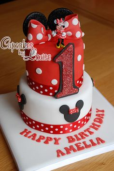 2 tier Minnie Mouse cake by bakerlou1, via Flickr