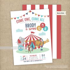 Carnival Birthday Invitation/ Circus Birthday Invitation |  Printable or Printed