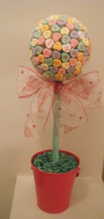 My edible Candy Heart Topiary  http://www.sweetservings.com  http://www.sweet-servings.blogspot.com