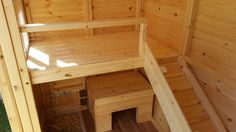 Inside Our Rabbits Shed! Rabbit House. a rabbit ramp leading upto a bunny shelf. Handmade By Boyles Pet Housing.