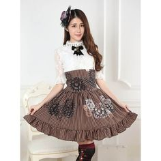 rown pin-stripe and cog printed steampunk style high waist skirt. Features ruffle hem and corset style lacing at back. #Steampunk #SteampunkSkirt #CogSkirt