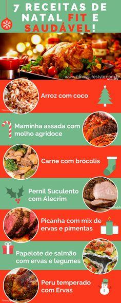 Veja 7 receitas para uma Ceia de Natal FIT e saudável! - Vamos te presentear com 7 deliciosas receitas de Natal Fit e Saudável para te ajudar a compensar a comilança...