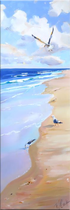 Sand Surf Seagulls Seascape Painting - P.- Sand Surf Seagulls Seascape Painting – P. Cook Artist Studio Sand Surf Seagulls Seascape Painting – P. Beach Scene Painting, Summer Painting, Surfing Painting, Painting Art, Ocean Art, Ocean Waves, Beach Waves, Seascape Paintings, Landscape Paintings
