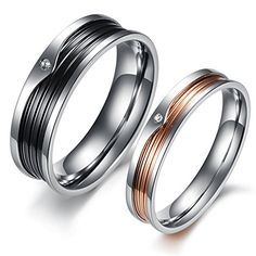 LUNA Stainless Steel Womens Mens Cz Promise Purity Ring Couples Wedding Bands…