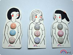drawing, buttons, illustration, cute, dress, girls, packaging, design, graphics