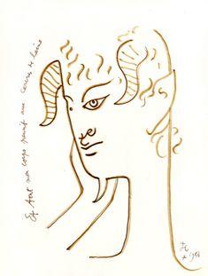 A la vitre d'hiver 1958. jean Cocteau.  Dessin original à l'encre et au feutre brun,