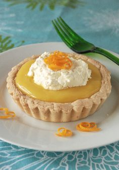 lemon curd tart with GF short bread crust (brown rice flour ...