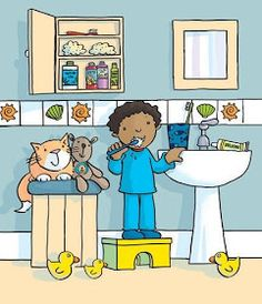 brushing teeth in bathroom Painting For Kids, Drawing For Kids, Art For Kids, Illustration Agency, Cute Illustration, Speech Language Therapy, Speech And Language, Picture Comprehension, Picture Composition