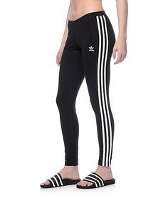 Get your workout on with these 3 Stripe black leggings by adidas. The soft cotton material mixed with a stretchy spandex allows for these leggings to not only move well but keep you comfy while getting toned.