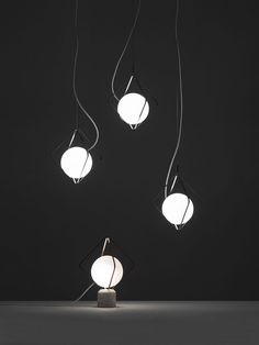 Designer Lucie Koldova has created Jack o'Lantern, a modern lighting element that has metal frames with a 'pearl' within the frames that lights up. #Lighting #ModernLighting