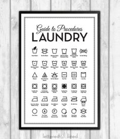 Laundry Symbols 12x18 print Mid Century by letteredandlined