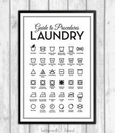Laundry Symbols 12x18 print Mid Century by letteredandlined