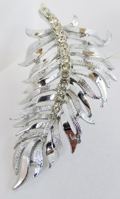 Vintage jewelry brooch in silver with clear by DevineCollectible, $45.00