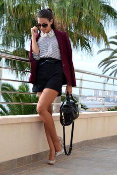 burgundy jacket, polka dots shirt and shorts