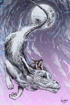 """""""Starry Night Ride""""Good morning friends, I'm excited to share my piece for tonight's show """"Crazy for Cult 10"""" at Gallery1988 (west), Los Angeles CA! This is inspired by the classic movie """"Never Ending Story"""" Falkor and Atreyu! Had so much fun doing this…"""