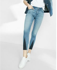 High Waisted Stretch+performance Triangle Pieced Ankle Jean Leggings by Express on ShopStyle.