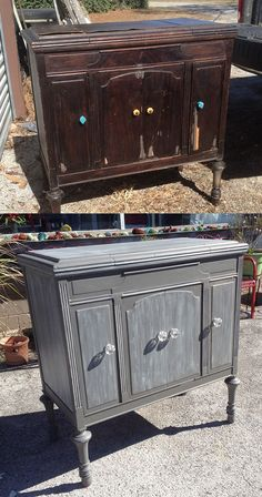 Thinking of painting that old piece? After seeing some of our repurposed pieces, a client entrusted us with a Victrola Cabinet they had purchased at an auction several years back. There were bad veneer issues, and doors were breaking at the hinges. A little work and some Dixie Belle Paint love using Hurricane and Fluff White, it now makes a beautiful accent piece for any room. You can give the old ugly a new life. Come see us at Just Repurposed in Hanceville, AL.