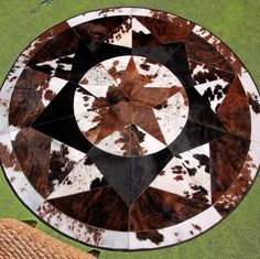 New Cowhide Rug Leather Star Cow Hide Patchwork Area Round Carpet Cowskin P18 #MadCowTown #Country