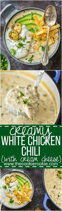 CREAMY WHITE CHICKEN CHILI made with CREAM CHEESE is the ultimate comfort food! Made in minutes and feeds up to 16 people! Freeze some for a delicious meal later. THE BEST WHITE CHICKEN CHILI EVER! #mexicanfoodrecipes