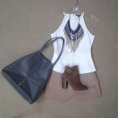 @raoulfashion ivory cut in tank,@bcbgmaxazria Owen tan leather skirt, indian inspired beaded necklace,@raoulfashion Marion tote in gray and @chineselaundry Zip It boot in dark camel.