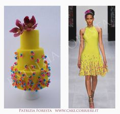 Fashion cake yellow and flower - Cake by Patrizia Foresta Unique Cakes, Creative Cakes, Modern Cakes, Pretty Cakes, Beautiful Cakes, Amazing Cakes, Fondant Cakes, Cupcake Cakes, Cupcakes