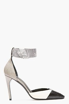 MUGLER Black & White Patchworked Leather Ankle Strap Pumps