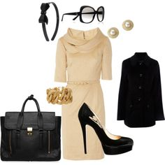 Jackie O style...love!.... but I would have to change the shoes to black ballet flats if I intend to even stand up.....;-)