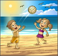 Happy Kids Boy by Sonulkaster Childrens summer activities. Happy kids boy and girl are playing with ball on summer beach. Color Pencil Art, Vector Design, Graphic Design, Landscape Illustration, Happy Kids, Summer Activities, Kids Boys, Winnie The Pooh, Boy Or Girl