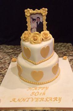 50th Anniversary Cake...fondant Picture Frame!