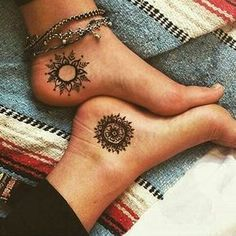 Black Ink Traditional Hippie Tattoo For Women Ankle