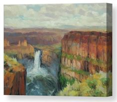 Palouse Falls, wilderness landscape canvas wall art print from Steve Henderson Collections. It is a 200-foot drop from the top of the cliffs to the pool below, and this Eastern Washington waterfall is well worth seeing any season of the year. Tucked away in the countryside of the Pacific Northwest, Palouse Falls is a majestic sight, as majestic as the Grand Canyon or Niagara Falls, but even more so because it is not so crowded. #waterfall #landscape #washington #river #shenderson #art…