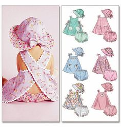 INFANTS DRESSES, PANTIES AND HAT: Sleeveless A-line dresses A, B, C, D, E, F, G have trimming variations; dresses A, B, C, D, E have self or contrast fabric lining and a button closure at each shoulder; dresses A, B, C have criss-cross back; dresses D, E have open sides with contrast ties; dresses F, G have binding at neckline and armholes forming ties at shoulders; dresses B, D, F have front patch pockets; panties and hat are also included.  SUGGESTED FABRICS: Dress, Panties and Hat…