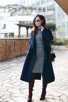 Japanese Fashion Blogger,Mizuho K,0114,OOTD,SheIn-Navy tweed fringe tape dress,Turtle knit stripe sweater-Honeys,SheIn-Navy long coat,Burgundy Thigh high boots,Light in the box-black crossbody bag,zeroUV-white sunglasses,Feminine chic style