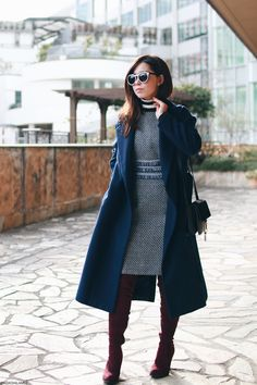 Japanese Fashion Blogger,Mizuho K,0114,OOTD,SheIn-Navy tweed fringe tape dress,Turtle knit stripe sweater-Honeys,SheIn-Navy long coat,Burgundy Thigh high boots,Light in the box-black crossbody bag,zeroUV-white sunglasses,Feminine chic style